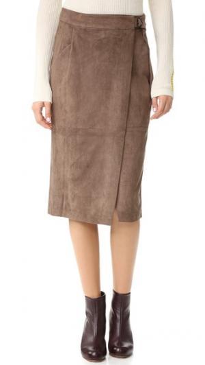 Миди-юбка с пряжкой кольцом And B. Цвет: серо-коричневый