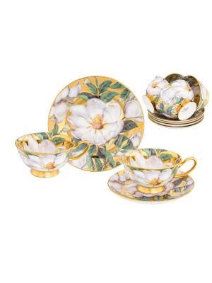Чайный набор Белый шиповник на золоте Elan Gallery. Цвет: белый, зеленый, золотистый