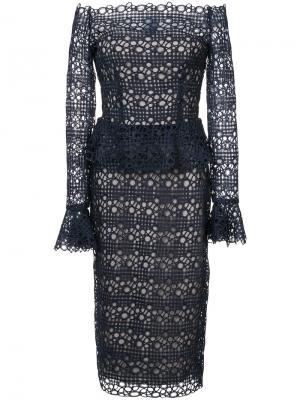 Guipure lace peplum dress Monique Lhuillier. Цвет: синий