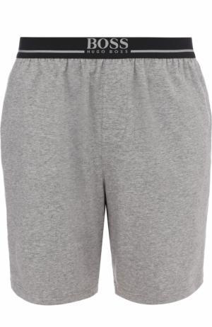 Хлопковые домашние шорты BOSS. Цвет: серый