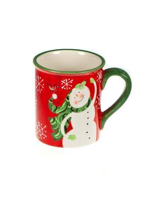 Кружка 590мл Снеговик Certified International. Цвет: темно-зеленый, красный