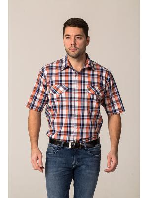 Рубашка John Jeniford. Цвет: оранжевый, белый, синий