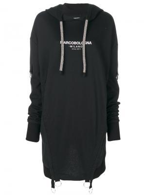 Платье-толстовка с капюшоном Marco Bologna. Цвет: чёрный