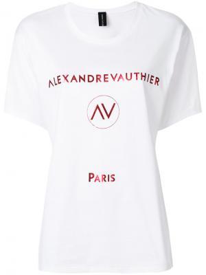 Футболка с логотипом металлик Alexandre Vauthier. Цвет: белый