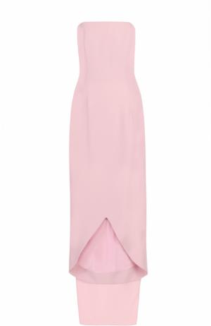 Шелковое платье-бюстье с кейпом Oscar de la Renta. Цвет: светло-розовый
