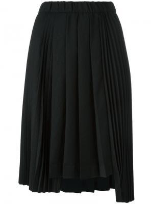 Плиссированная юбка асимметричного кроя Nº21. Цвет: чёрный