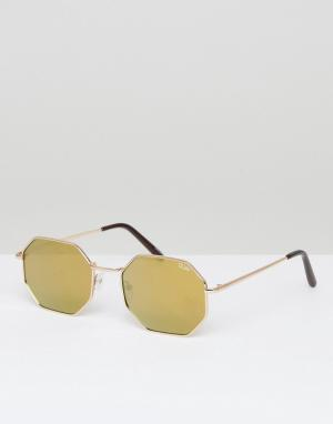 Quay Australia Круглые солнцезащитные очки в золотистой оправе On A Di. Цвет: золотой