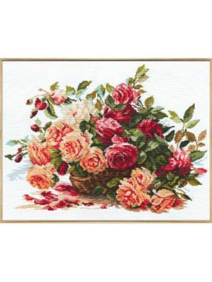 Розы  40х30 см Алиса. Цвет: коричневый, малиновый, красный, розовый, темно-зеленый, темно-коричневый, темно-красный