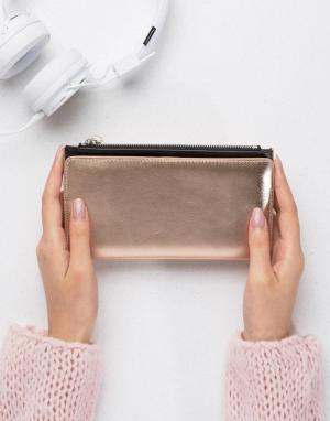 Monki Бумажник цвета металлик. Цвет: золотой
