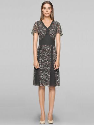 Платье Elegance. Цвет: серый, коралловый
