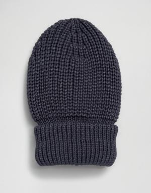 Hat Attack Шапка-бини в крупный рубчик с отворотом. Цвет: темно-синий