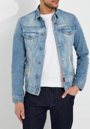 Куртка джинсовая Armani Exchange. Цвет: голубой