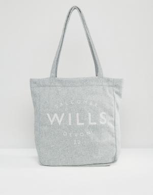 Jack Wills Бледно-серая сумка-шоппер. Цвет: серый