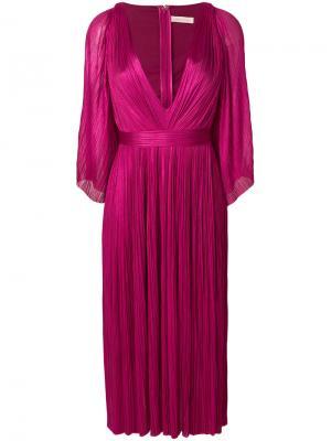 Плиссированное платье с глубоким вырезом Maria Lucia Hohan. Цвет: розовый и фиолетовый