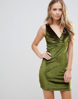 WYLDR Бархатное платье мини с плиссировкой Distractions. Цвет: зеленый