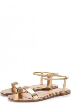 Сандалии Jaime из металлизированной кожи Gianvito Rossi. Цвет: золотой