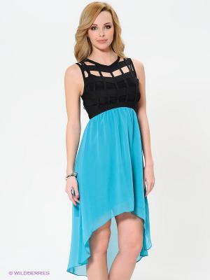 Платье Wow Couture. Цвет: черный, бирюзовый