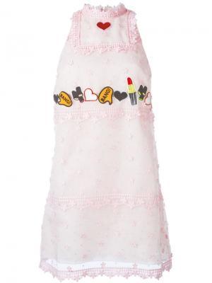 Декорированное платье Giamba. Цвет: розовый и фиолетовый