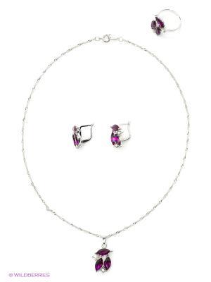 Кольцо, серьги, кулон Vittorio Richi. Цвет: малиновый