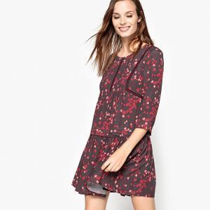Платье короткое расклешенное с графичным рисунком SEE U SOON. Цвет: черный/бордовый