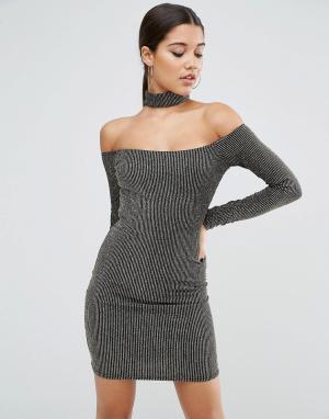 ASOS Блестящее облегающее платье мини с длинными рукавами и горловиной-чоке. Цвет: черный