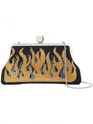 Flame embroidered clutch Sarah's Bag. Цвет: чёрный