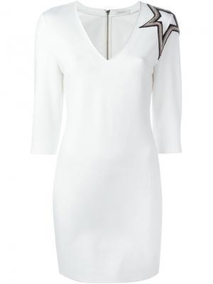 Платье с аппликацией Pierre Balmain. Цвет: белый