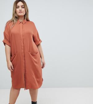 ASOS Curve Платье-рубашка с короткими рукавами. Цвет: коричневый