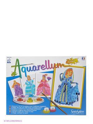 Акварельная раскраска Принцессы SENTOSPHERE. Цвет: белый, голубой
