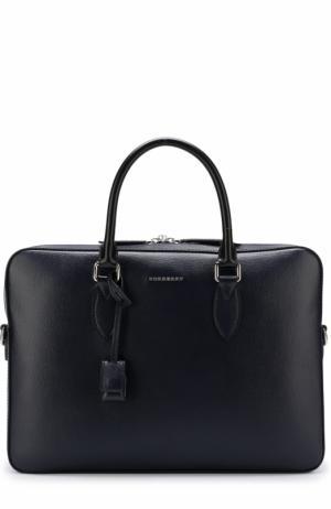 Кожаная сумка для ноутбука с плечевым ремнем Burberry. Цвет: темно-синий