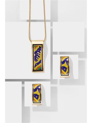 Набор украшений Сальвадор Дали: цепочка с кулоном и серьги Nothing but Love. Цвет: желтый, оранжевый, фиолетовый
