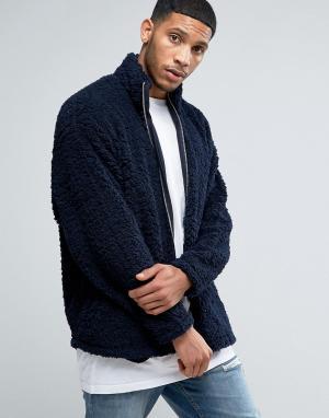 ASOS Темно-синяя oversize-куртка из искусственного меха. Цвет: темно-синий