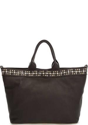 Коричневая кожаная сумка с металлическим декором Io Pelle. Цвет: коричневый