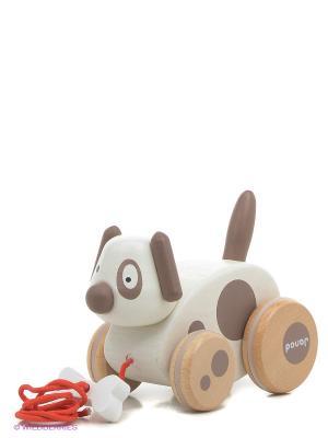 Каталка на веревочке Собачка с колокольчиком Janod. Цвет: белый