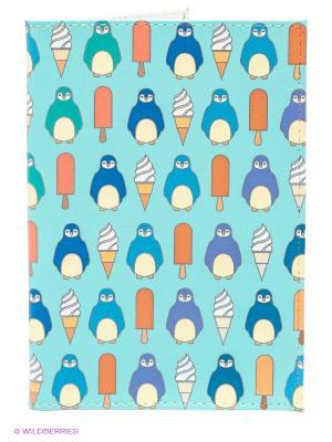 Обложка для паспорта Пингвины и эскимо Mitya Veselkov. Цвет: бирюзовый
