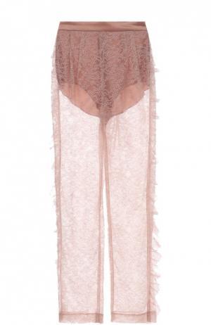 Полупрозрачные кружевные брюки прямого кроя Rodarte. Цвет: розовый