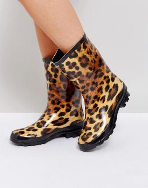 ASOS Резиновые сапоги с леопардовым принтом GAZELLE. Цвет: мульти