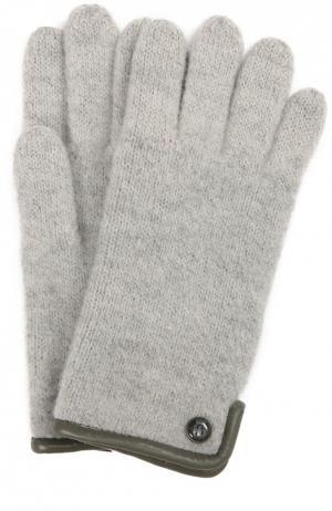Вязаные перчатки с пуговицей Roeckl. Цвет: серебряный