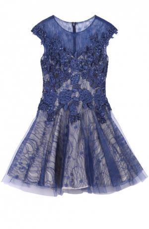Приталенное мини-платье с кружевной отделкой Basix Black Label. Цвет: синий