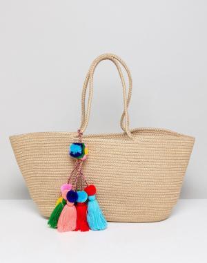 America & Beyond Пляжная сумка-мешок из джута с разноцветными кисточками Beyo. Цвет: мульти