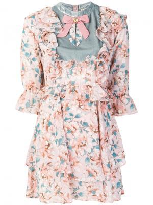 Платье с цветочным рисунком For Love And Lemons. Цвет: розовый и фиолетовый