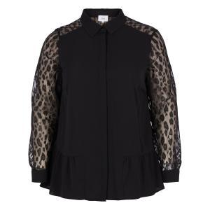 Блузка однотонная с воротником-поло и длинными рукавами ZIZZI. Цвет: черный