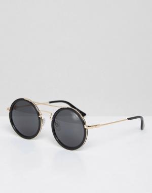 Black Phoenix Круглые солнцезащитные очки с планкой. Цвет: черный