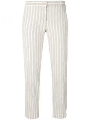 Прямые полосатые брюки Massimo Alba. Цвет: телесный