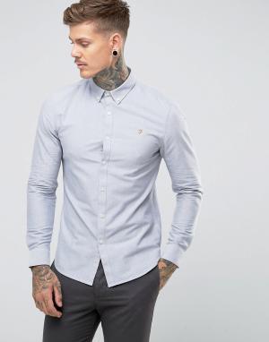 Farah Серая приталенная оксфордская рубашка Brewer. Цвет: серый