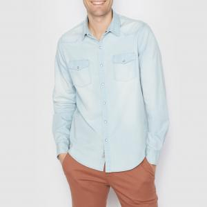 Рубашка джинсовая стандартного покроя. Длинные рукава La Redoute Collections. Цвет: выбеленный