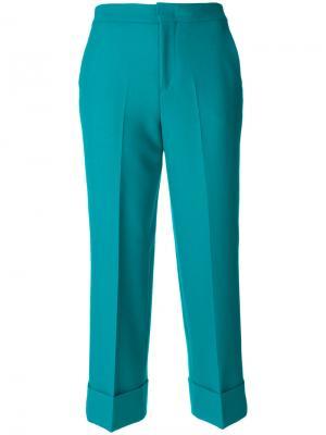 Укороченные брюки с подвернутыми манжетами Pt01. Цвет: синий