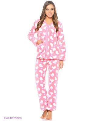 Домашний костюм из велсофта NAGOTEX. Цвет: розовый, белый