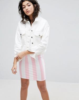 ASOS Белая джинсовая укороченная куртка. Цвет: белый