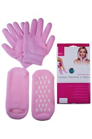 Увлажняющие перчатки и носки Medolla. Цвет: розовый